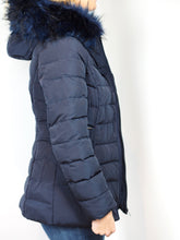 Load image into Gallery viewer, Navy Faux Fur Hood Parka