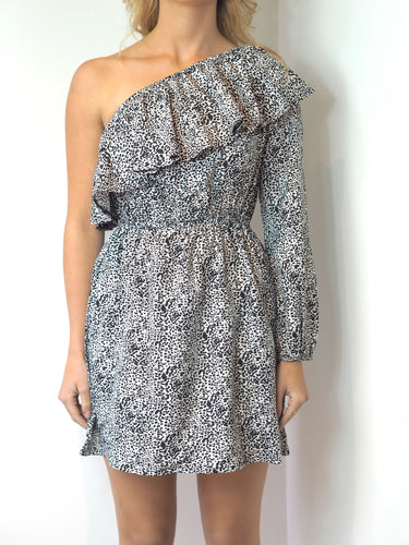 One Shoulder Print Dress