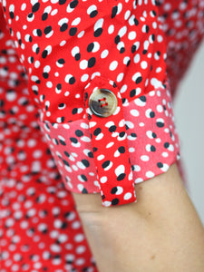 Spot Button Detail Wrap Dress