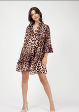 Load image into Gallery viewer, Leopard Print Frill Smock Dress