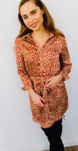 Leopard Print Satin Shirt Dress