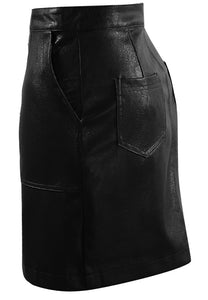 Faux Leather Button Mini Skirt