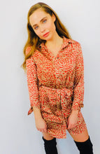 Load image into Gallery viewer, Leopard Print Satin Shirt Dress