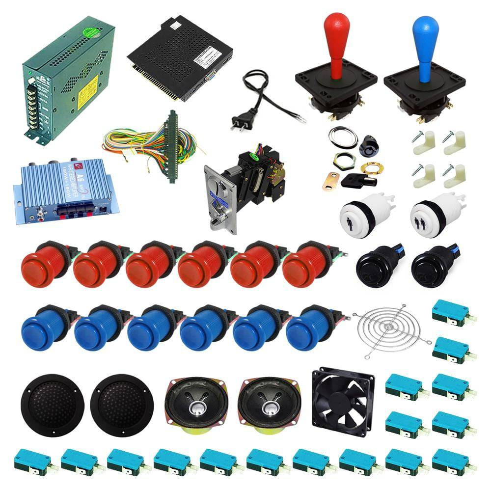 Ultimate 138 in 1 Happ Kit - Red/Blue - DIY Arcade USA