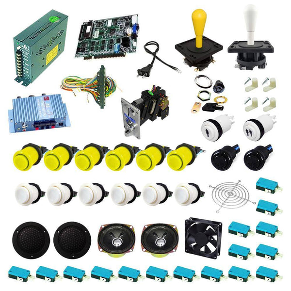Ultimate 19 in 1 Happ Kit - Yellow/White - DIY Arcade USA
