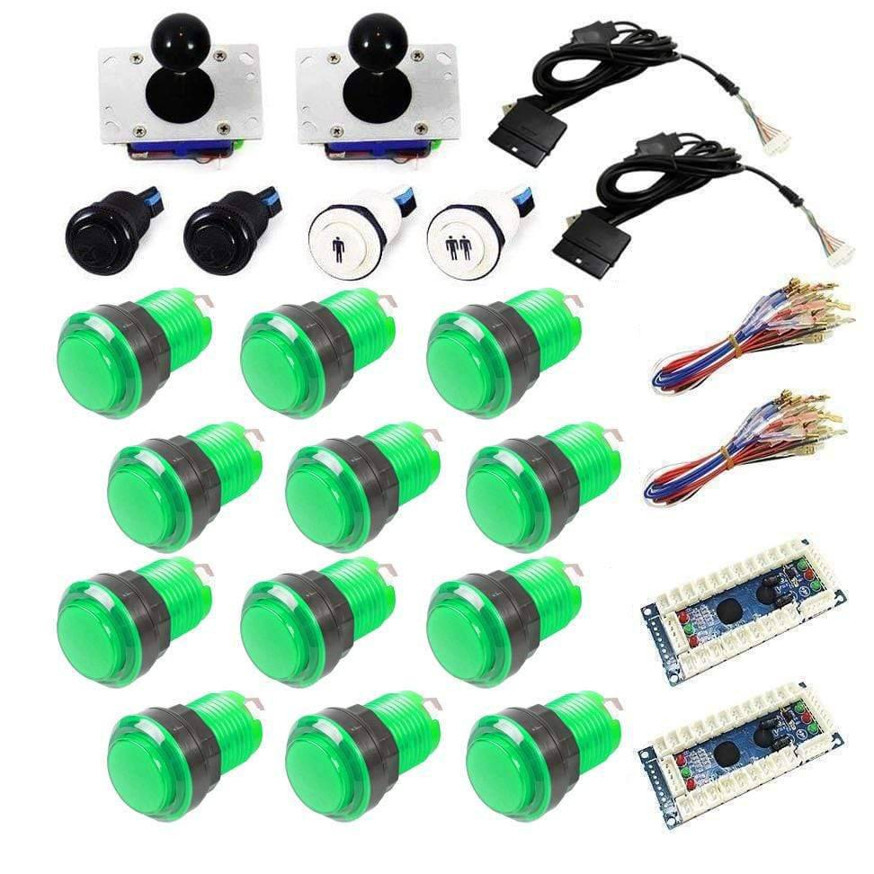 Illuminated USB Arcade Kit (for PC/PS3/MAME) -Green/Green - DIY Arcade USA