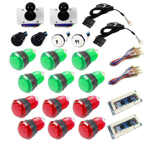 Illuminated USB Arcade Kit (for PC/PS3/MAME) - Red/Green - DIY Arcade USA