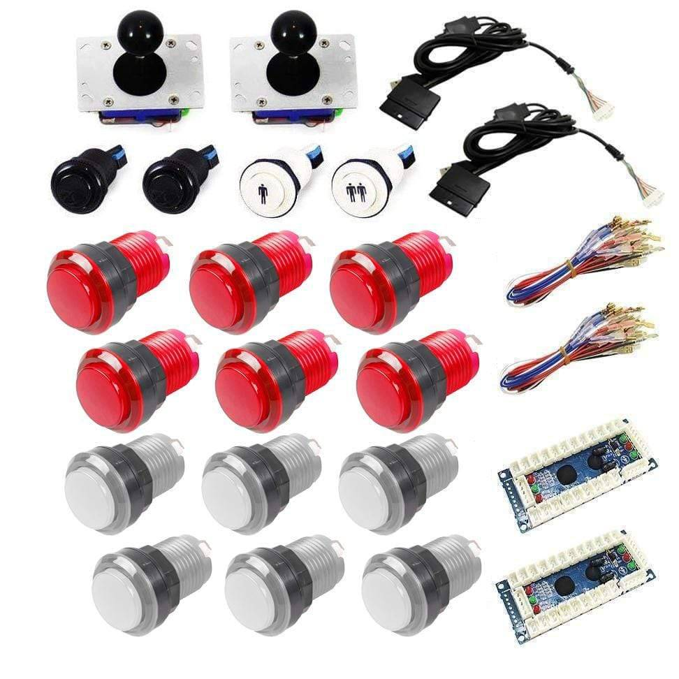 Illuminated USB Arcade Kit (for PC/PS3/MAME) - White/Red - DIY Arcade USA