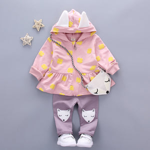 Baby Girl Clothes Toddler Children's Sets 2018 Fashion Flower Print Cute Fox Bag Girls Clothing Girls Clothes Kids Sets