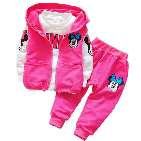 Baby Kids Girls Minnie Mickey Clothing Set Children Autumn 3 Pcs Sets Hooded Jacket Coat Vest Pants Suits Boys Cartoon Clothes