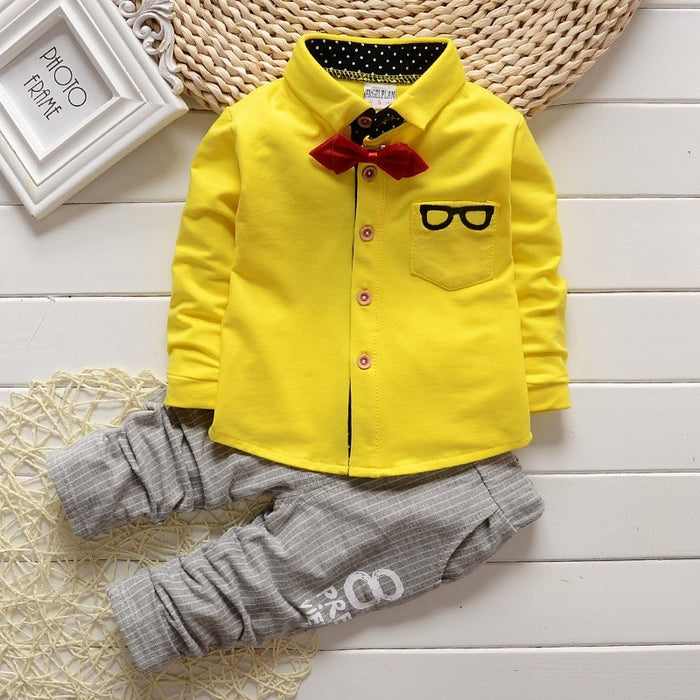 BibiCola Baby Boy Clothing Sets children Bow tie T-shirts glasses top pants kids cotton cardigan 2pcs boys autumn sets