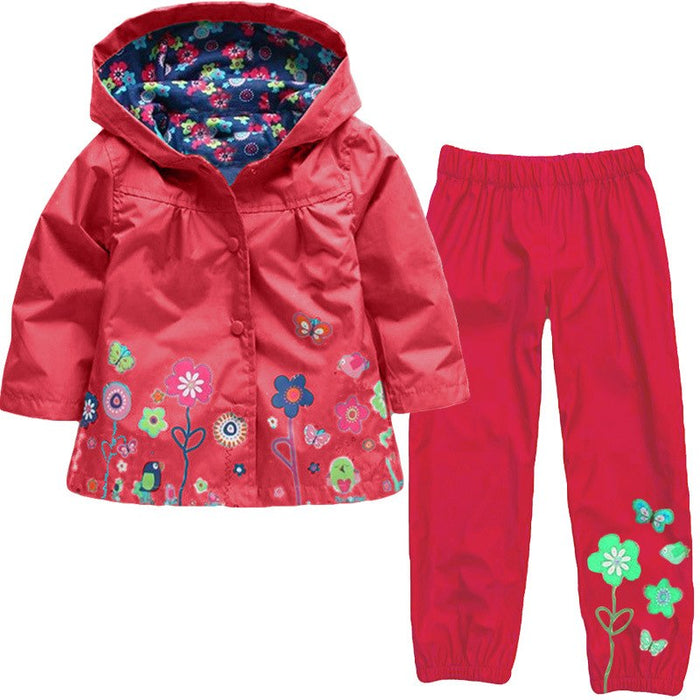 Girls Raincoat Pants Sets