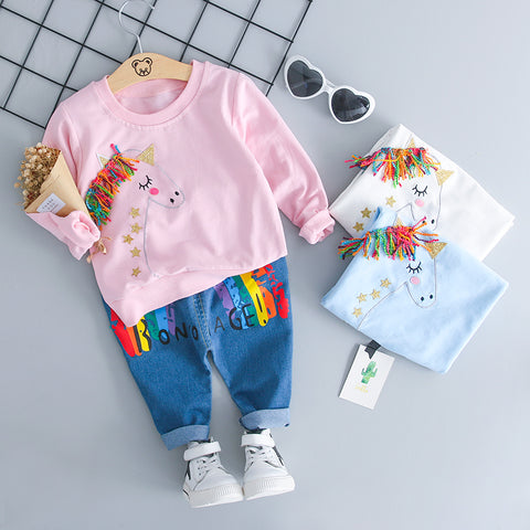 HYLKIDHUOSE Baby Girls Clothing Sets Children Clothes Suits Cartoon Colorful T Shirt Jeans Infant Casual Kid Clothes Suits