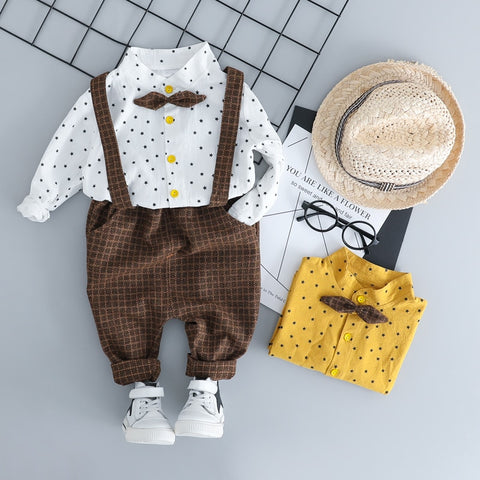 HYLKIDHUOSE Toddler Children Clothes Suits Gentleman Style Baby Boys Clothing Sets Shirt Bib Pants Autumn Kids Infant Costume