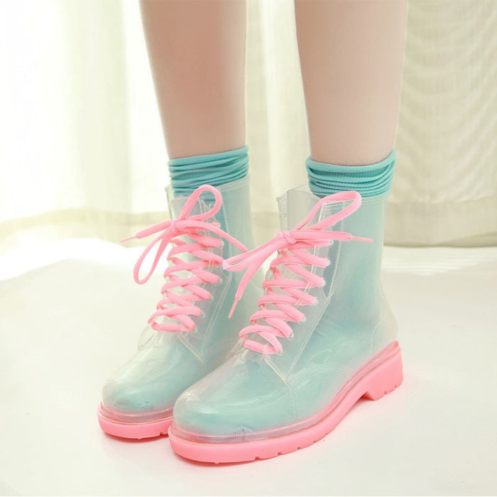 Korean fashion explosion paragraph crystal jelly Martin boots transparent rain shoes water shoes candy color female