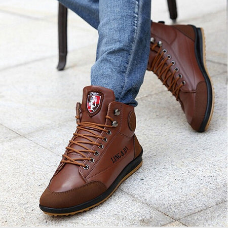 New 2018 men leather Boots Fashion autumn winter Warm Cotton Brand ankle boots lace up men Shoes footwear free shipping LS003