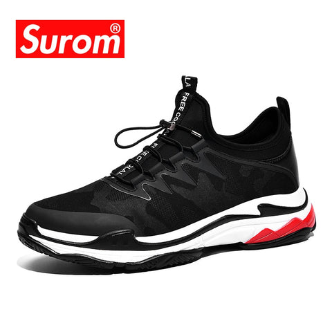 SUROM 2018 Men's Fashion Casual Shoes Trend Male Fly weave Breathable Canvas Sneakers Men's Dad Shoes New Triple Clunky sneakers
