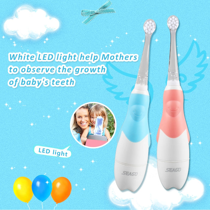 Kids Electric Toothbrush w/3 Pcs Replacement