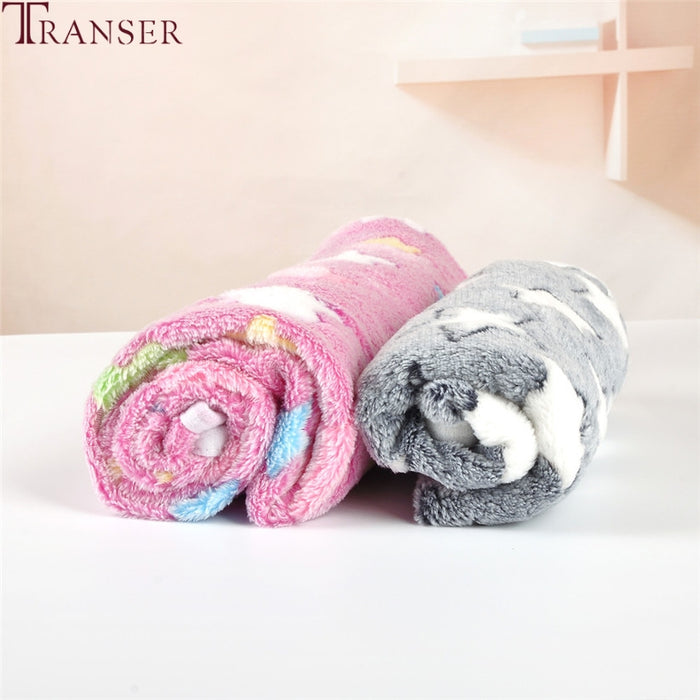 Transer Dog Bed Soft Flannel Fleece Star Print Warm Pet Blanket Sleeping Bed Cover Mat For Small Medium Dog Cat