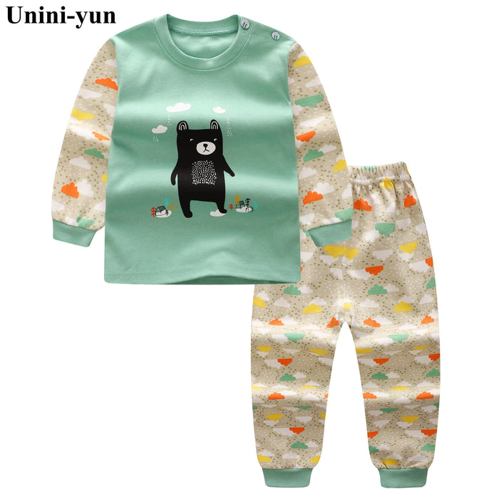 Unini-yun Spring Autumn Baby Boys Girls Cotton Full-sleeved Jacket+pants Boys Tracksuit Kids Clothing Set Baby Set 12M18M24M3T4T