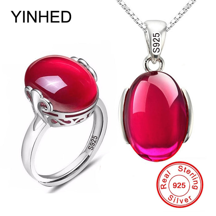 Ruby Ring Necklace Set