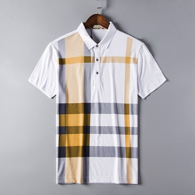 843fa95be88 High quality polo shirt men brand clothing short sleeve business casual  plaid designer breathable plus size