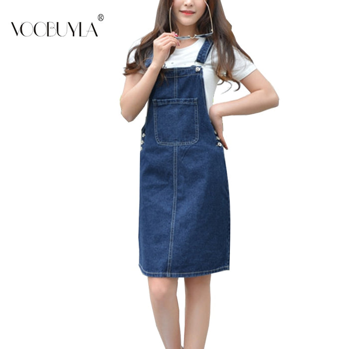 Denim Bibbed Overalls Skirt