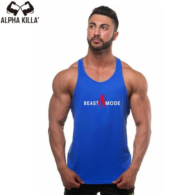 New Fitness Tank Top Men Bodybuilding Stringer Men's Singlets Tank Top Shirts gyms Workout Vest Clothing beast mode