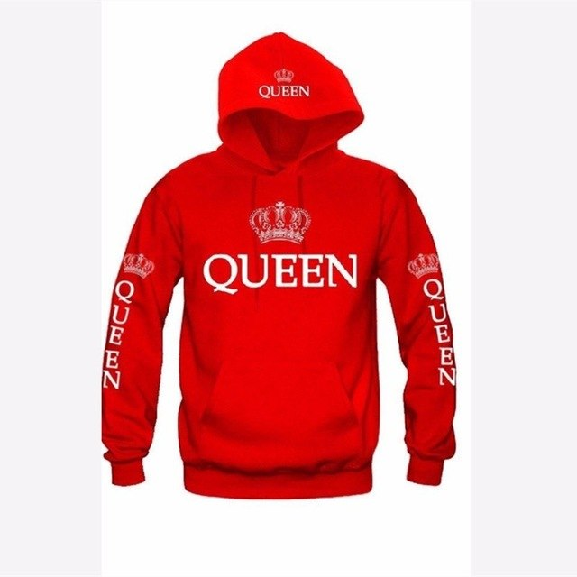 OMSJ 2018 Autumn 3Colors King Queen Printed Hoodies Women Men Sweatshirt Lovers couples hoodie Hooded sweatshirt Casual Pullover