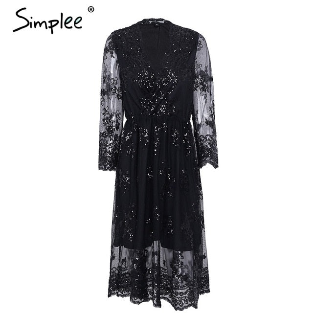 Simplee V neck long sleeve sequin Sexy mesh streetwear midi dress autumn dress vestido