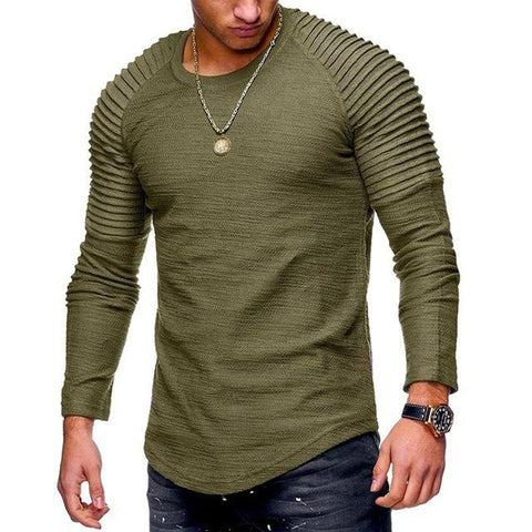 New Fashion Men's Round Neck Slim Solid Color Long-sleeved Striped Fold Raglan Sleeve Style T shirt Men