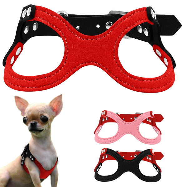 Soft Suede Leather Small Dog Harness Adjustable Chest 10-13""
