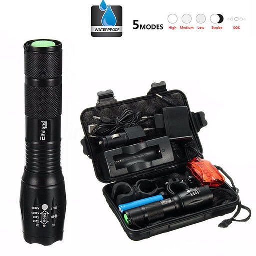 Super Bright Rechargeable Outdoor Tactical 5 Mode Flashlight T6 LED Zoomable Torch Lamp Light