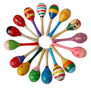 1PC Baby Wooden Ball Toys Baby Rattles Sand Hammer Musical Toy Instrument Sound Maker Baby Attetion Training Toy Random Color