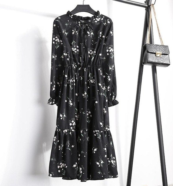 Vintage Ladies Summer Chiffon Floral Short Sleeve Casual Slim Print V-neck Woman Dresses Elastic Waist