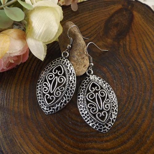 Tibetan Silver Earrings Bohemia Leaves