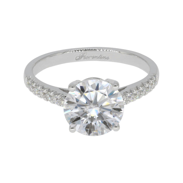 Florentine Anabelle, Round Hearts & Arrows Micropave Engagement Ring