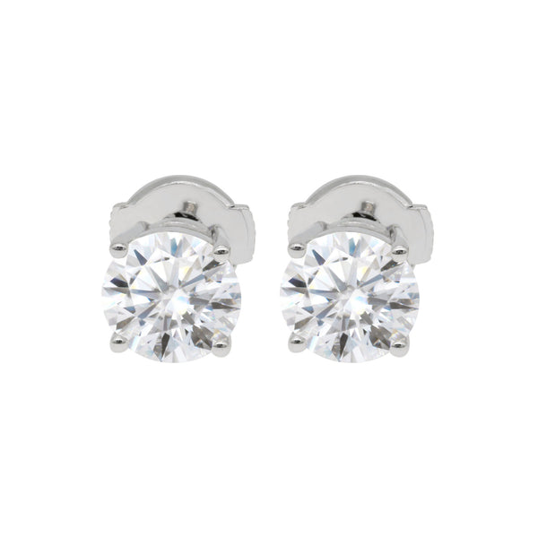 Florentine Classic Solitaire, Round Hearts & Arrows Earrings