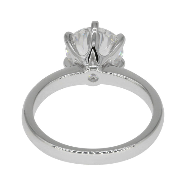 Florentine Classic Solitaire, Round Hearts & Arrows Engagement Ring, Comfort Fit