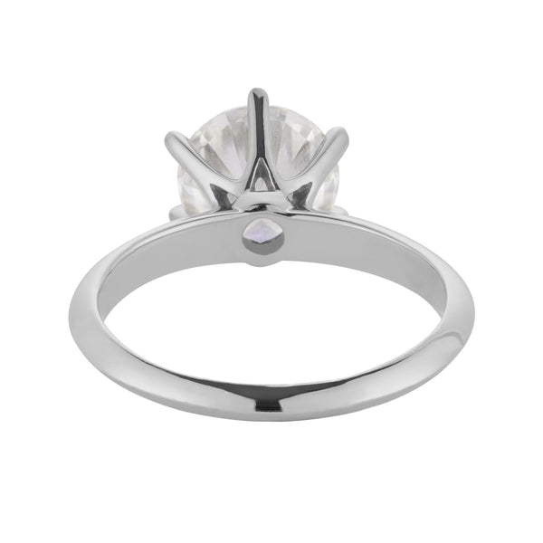 Florentine Classic Solitaire, Round Hearts & Arrows Engagement Ring, Knife Edge