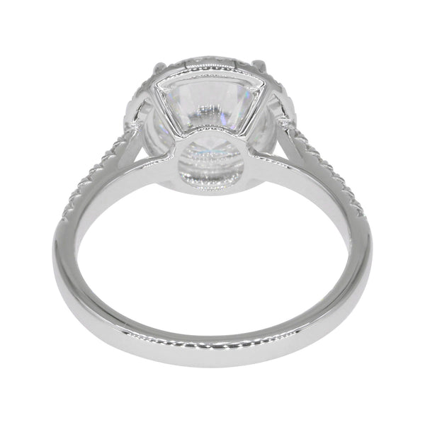 Florentine Sirius, Halo Round Hearts & Arrows Micropave Engagement Ring