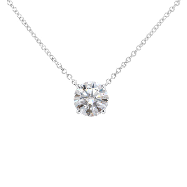 Florentine Classic Solitaire, Round Hearts & Arrows Necklace