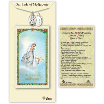 Our Lady of Medjugorje Pewter Medal and Prayercard