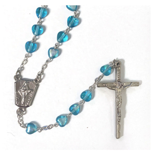 Blue Iridescent Heart Bead Rosary