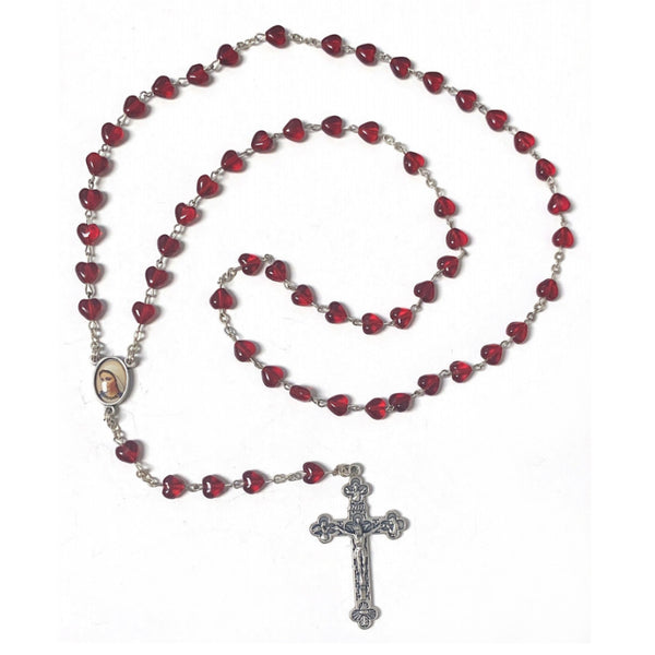 Clear Red Heart Bead Rosary
