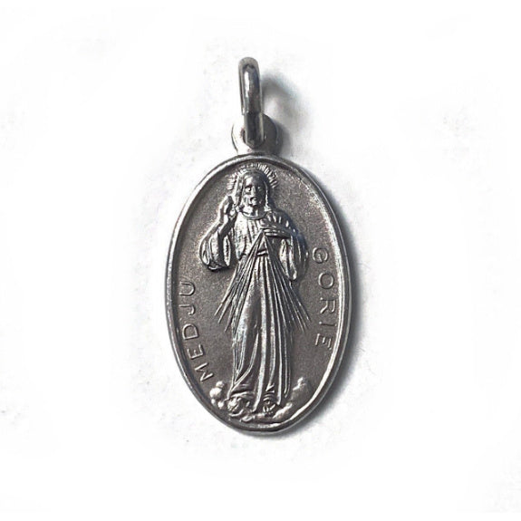Divine Mercy Oval Sterling Silver Medal