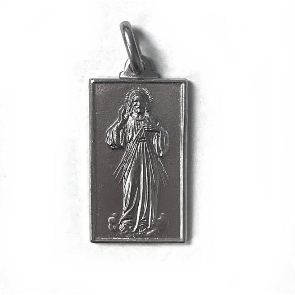 Divine Mercy Rectangle Medal in Sterling Silver