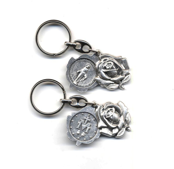 Miraculous Medal Rose Keychain