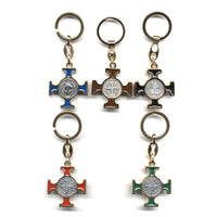St. Benedict Enameled Cross Keychain
