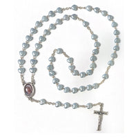 Light Blue Heart Bead Rosary